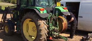 Tractor tyre being changed